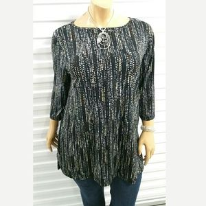 Investments Black Multi Color Blouse